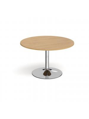 Trumpet base circular boardroom table 1200mm - chrome base, oak top