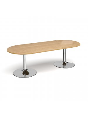 Trumpet base radial end boardroom table 2400mm x 1000mm - chrome base, oak top
