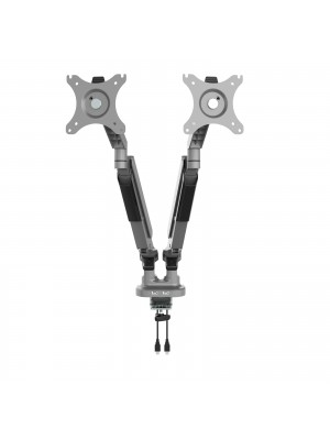 Triton gas lift space-saving double monitor arm - silver