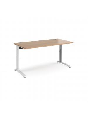 TR10 height settable straight desk 1600mm x 800mm - white frame, beech top