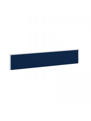 Straight fabric desktop screen 1800mm x 380mm - blue fabric with white aluminium frame