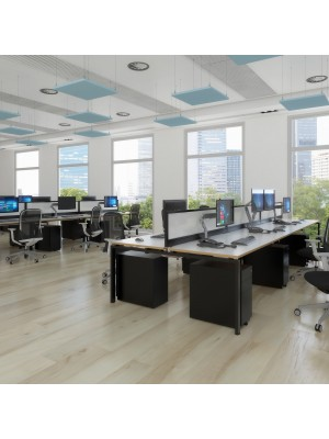 Adapt II sliding top back to back desks 1400mm x 1600mm - white frame, white top with oak edging