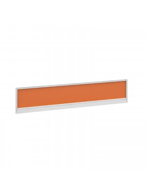 Straight glazed desktop screen 1800mm x 380mm - mandarin orange with white aluminium frame