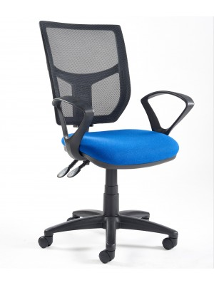 Altino 2 lever high mesh back operators chair with fixed arms - blue