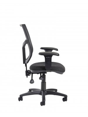 Altino 2 lever high mesh back operators chair with adjustable arms - charcoal
