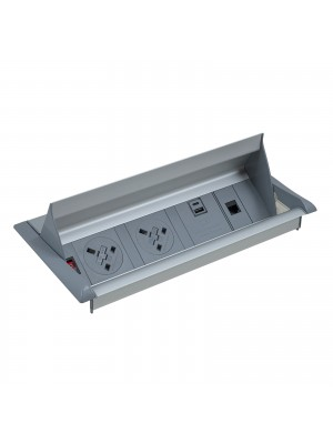 Aero fliptop in-table power module  x UK sockets, 1 x RJ45 socket, 1 x twin USB fast charge - grey/silver