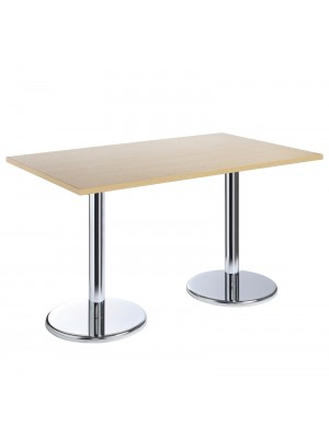 Pisa rectangular table with round chrome base 1300mm x 800mm - beech
