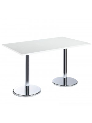 Pisa rectangular table with round chrome base 1300mm x 800mm - white