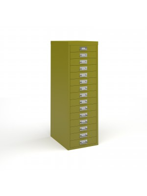 Bisley multi drawers with 15 drawers - green