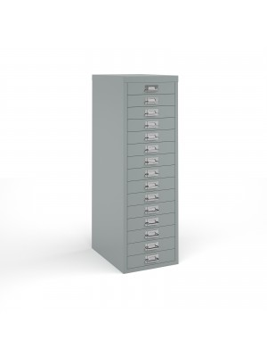 Bisley multi drawers with 15 drawers - silver