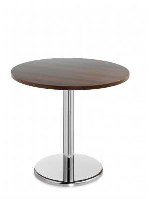 Pisa circular table with round chrome base 600mm - walnut