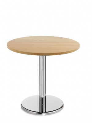 Pisa circular table with round chrome base 800mm - beech