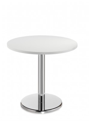 Pisa circular table with round chrome base 800mm - white