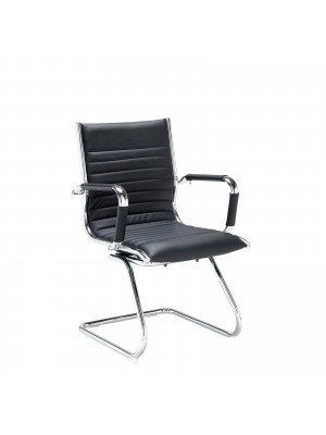 Bari executive visitors chair - black faux leather