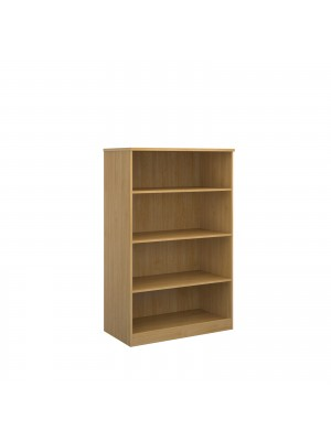 Deluxe bookcase 1600mm high with 3 shelves - oak
