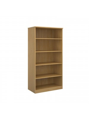 Deluxe bookcase 2000mm high with 4 shelves - oak