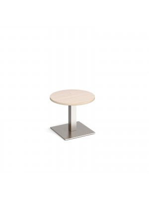Brescia circular coffee table with flat square brushed steel base 600mm - maple