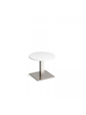 Brescia circular coffee table with flat square brushed steel base 600mm - white
