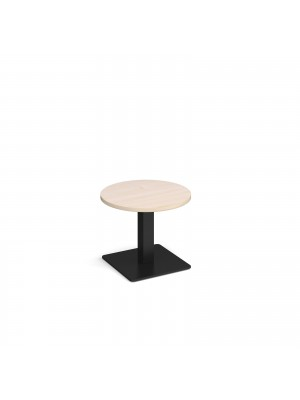 Brescia circular coffee table with flat square black base 600mm - maple