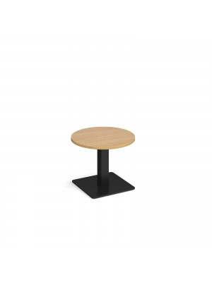 Brescia circular coffee table with flat square black base 600mm - oak