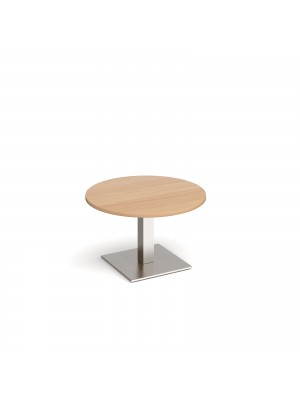 Brescia circular coffee table with flat square brushed steel base 800mm - beech