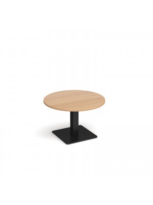 Brescia circular coffee table with flat square black base 800mm - beech