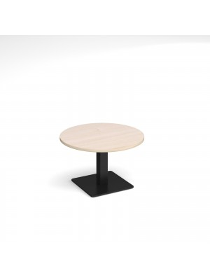 Brescia circular coffee table with flat square black base 800mm - maple