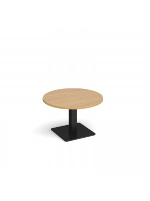 Brescia circular coffee table with flat square black base 800mm - oak