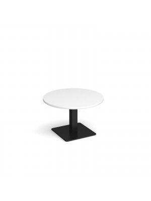 Brescia circular coffee table with flat square black base 800mm - white