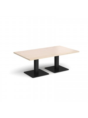 Brescia rectangular coffee table with flat square black bases 1400mm x 800mm - maple
