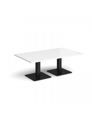 Brescia rectangular coffee table with flat square black bases 1400mm x 800mm - white