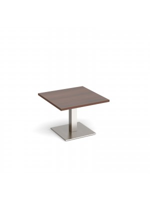 Brescia square coffee table with flat square brushed steel base 700mm - walnut