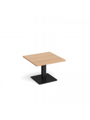 Brescia square coffee table with flat square black base 700mm - beech