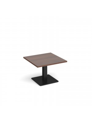 Brescia square coffee table with flat square black base 700mm - walnut