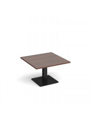Brescia square coffee table with flat square black base 800mm - walnut