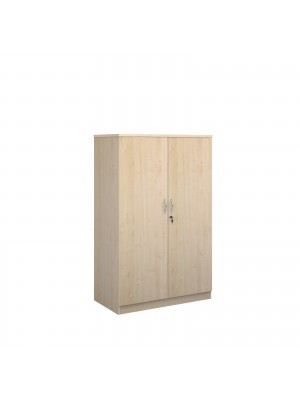 Deluxe double door cupboard 1600mm high with 3 shelves - maple