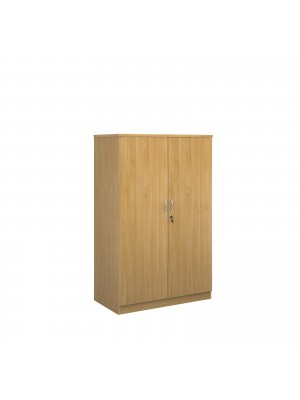 Deluxe double door cupboard 1600mm high with 3 shelves - oak