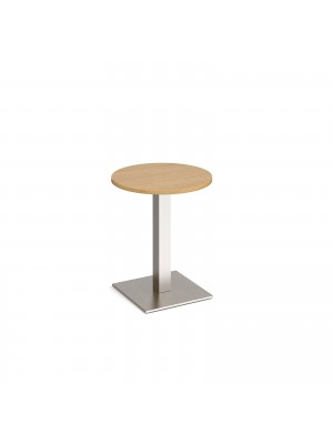 Brescia circular dining table with flat square brushed steel base 600mm - oak