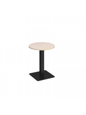 Brescia circular dining table with flat square black base 600mm - maple
