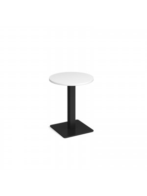 Brescia circular dining table with flat square black base 600mm - white
