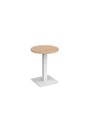 Brescia circular dining table with flat square white base 600mm - beech