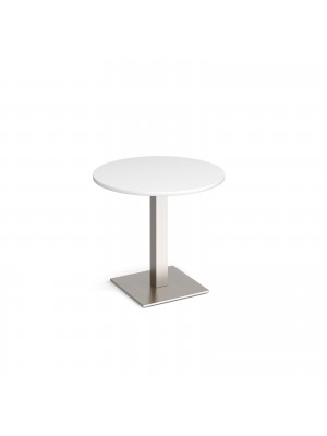 Brescia circular dining table with flat square brushed steel base 800mm - white