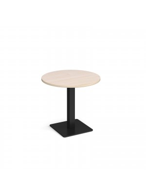 Brescia circular dining table with flat square black base 800mm - maple