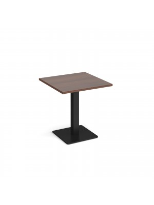 Brescia square dining table with flat square black base 700mm - walnut