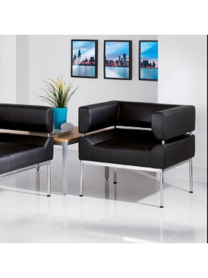 Benotto reception 3 seater chair 1770mm wide - black faux leather