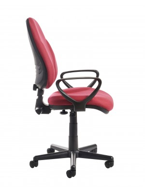 Bilbao fabric operators chair with lumbar support and fixed arms - burgundy