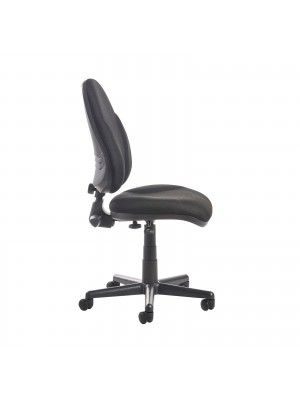 Bilbao fabric operators chair with lumbar support and no arms - black