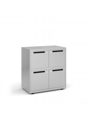 Bisley lodges with 4 doors and letterboxes - silver