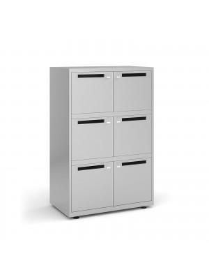 Bisley lodges with 6 doors and letterboxes - silver
