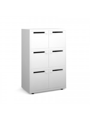 Bisley lodges with 6 doors and letterboxes - white